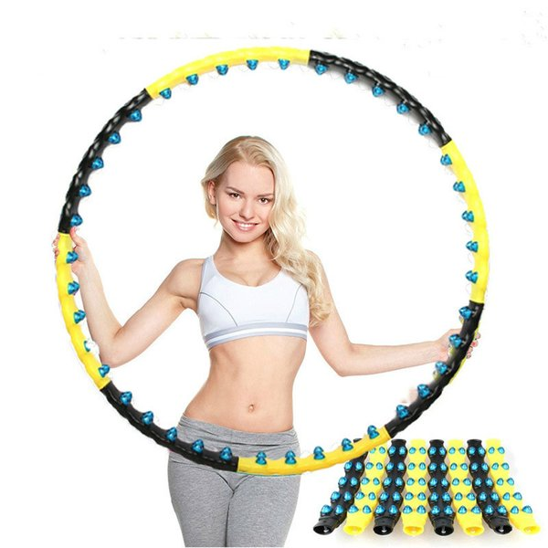 New magnet hula hoop adult female hula hoop black yellow blow double row fitness ringWeighted Workout Female Slimming