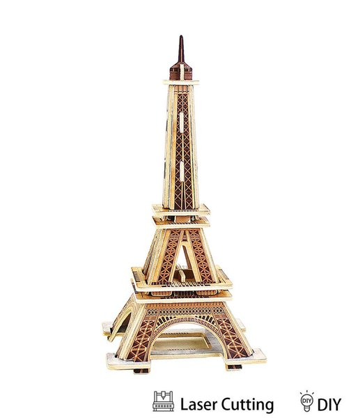3D Wooden Puzzle Model Building Eiffel Tower DIY Jigsaw Puzzle Engineering Educational Toys Best Model Toy Gifts for Kids & Adults