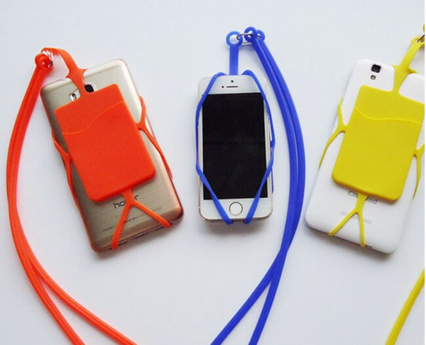 2018 LOW MOQ Silicone Lanyards cell phone holder Neck Strap Necklace Sling Card Holder Strap keychain for Universal Mobile Cell Phone