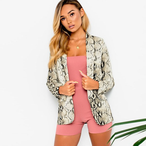 2018 new fashion winter women's open pin jacket high street long sleeve lapels snake pattern coat casual office coat