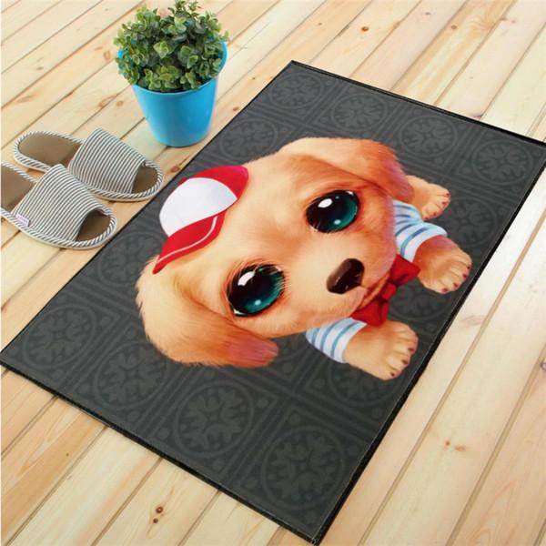 Popular Logo Cartoon Lovely Puppy Home Carpet Floor Mat Door Mat Bathroom Porch Door Entrance Door Mat Living Room Kitchen Bedroom Soft Rugs