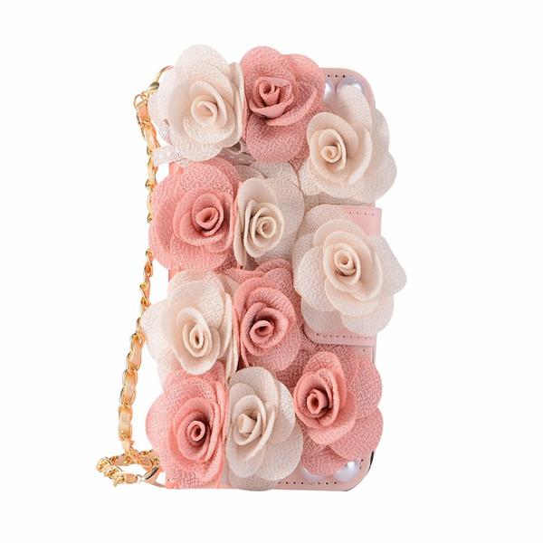 wholesale For iPhone Xs Max Case Xr X 8 Plus 7 Plus 6 6s 3D Flower Rose Leather Cover Wallet Handbag Chain Strap Cute Girl Women