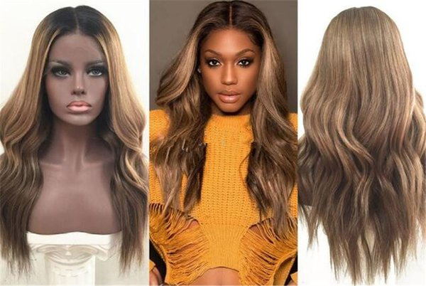 Lace Front Human Hair Wigs Ombre T1b/4/27 Wavy 150 Density Natural Wave Malaysian Virgin Hair Pre-plucked Hairline With Baby Hair Glueless