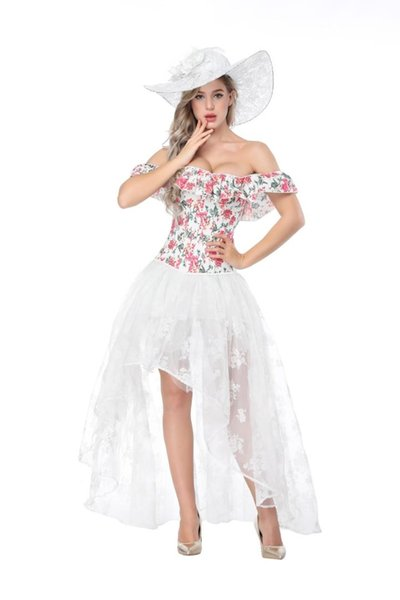 Off Shoulder Corset Party dress for Women Sexy Floral Corselet Tops Womens Ruffles White and Red Lace Up Corsets Bustier