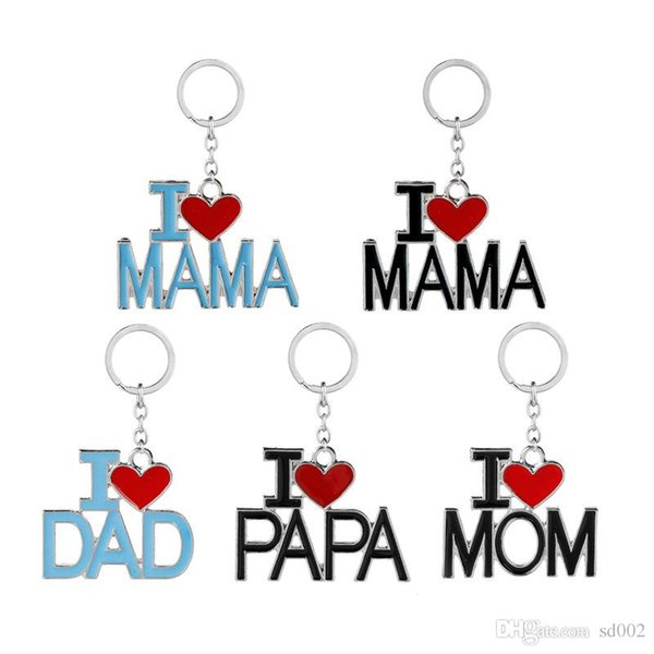 Moda Key Buckle Metal Chain Mother Father Day Regalo di Natale Home Lover I Love Dad Mom Keys Ring Brief Design 2 2zj ZZ