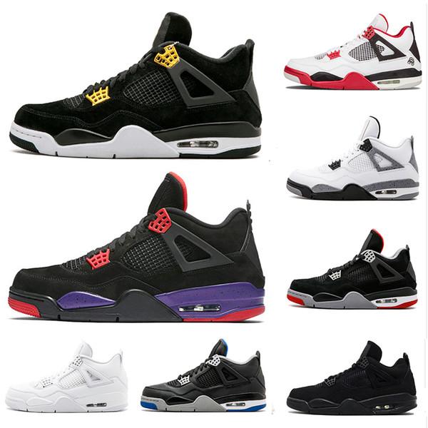 2018 4 4 4s баскетбол обувь мужчины чистые деньги роялти белый цемент хищники черный кот разводят огонь красный мужские тренеры спортивные кроссовки размер 8-13