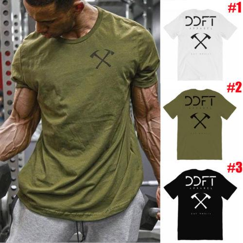 2018 Summer Mens Short Sleeve T Shirt Slim Fit Tops Bodybuilding Muscle Tee Clothing Pirate Letter O-Neck Cotton Running T-shirt