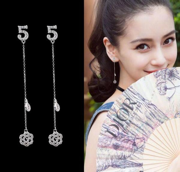 Lujo 925 Silver Number 5 Pendientes Hollow CrystalFlower Dangle Pendiente de la borla Prevenir Alergia Ear Studs Mujeres Wedding Party Jewelry