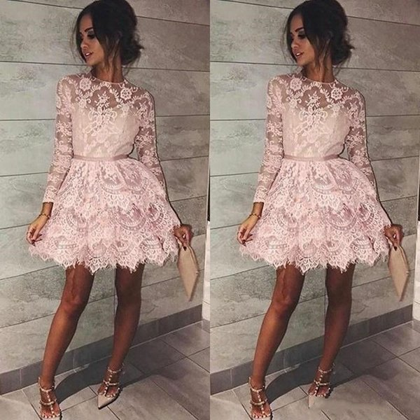 Plus Size Long Sleeves Cocktail Formal Prom Dress Sexy Short Pink ...