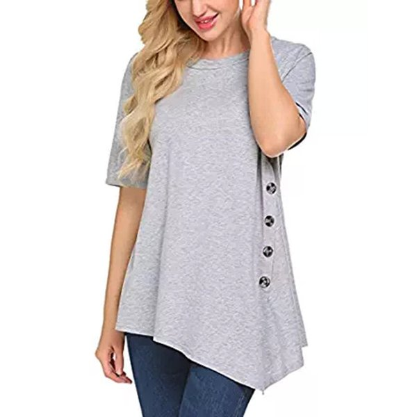 6f89617018f7bf Plus Size Women Casual Short Sleeve T Shirt Side Button Irregular Tops  Loose Side Slit Flowy