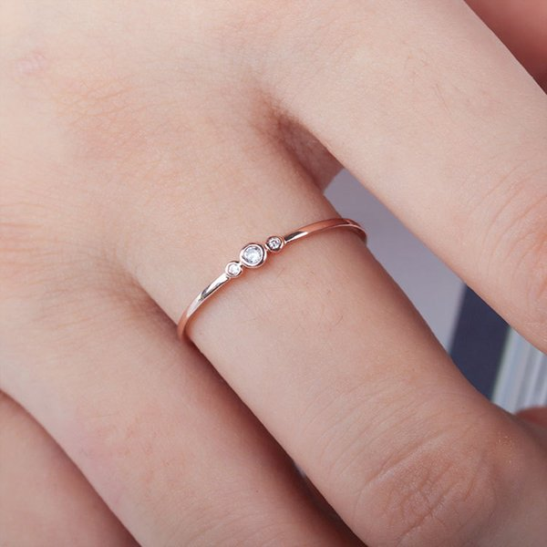 Stylish Fashion Simple Women Ring Finger Jewelry Gold /Sliver Color Rhinestone Crystal Rings 6/7/8/9/10 Size Hot Sale