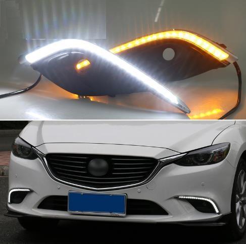 For Mazda 6 Mazda6 2016 2017,Yellow Turning Signal Relay Waterproof Car DRL  12V LED Daytime Running Light Fog Lamp Hole Led Day Lights For Cars Led