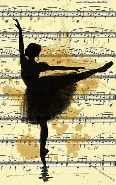 Ballerina Dancing on Vintage Music Paper Home Decor Wall Stickers Art Silk Poster 24x36inch 24x43inch