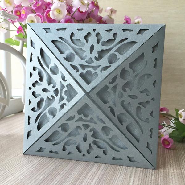 30 adet Gümüş renk Inci kağıt Dört Katlanmış tasarım Tebrik Nimet kart Doğum Günü Partisi düğün Davetiye Kartpostal