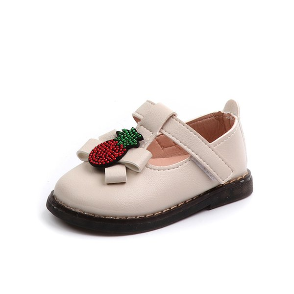 Mumoresip Baby Infants Toddlers Girls Shoes Soft PU Leather T-strap With Rhinestone Pineapple Fruit Design Infant Girl Shoes