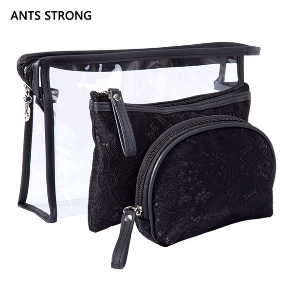 ANTS STRONG Fashion Lace Cosmetic Bags set/Women Makeup Bags Zipper Women Travel organizer Make Up Pouch Toiletry Bag