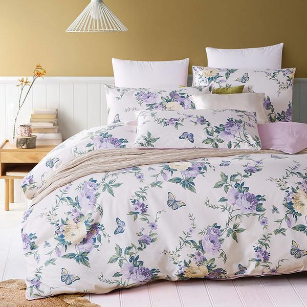 Top qualité luxe 1200TC égyptien coon satin mode fleur imprimé hôtel ensemble de literie housse de couette ensemble draps de lit feuille