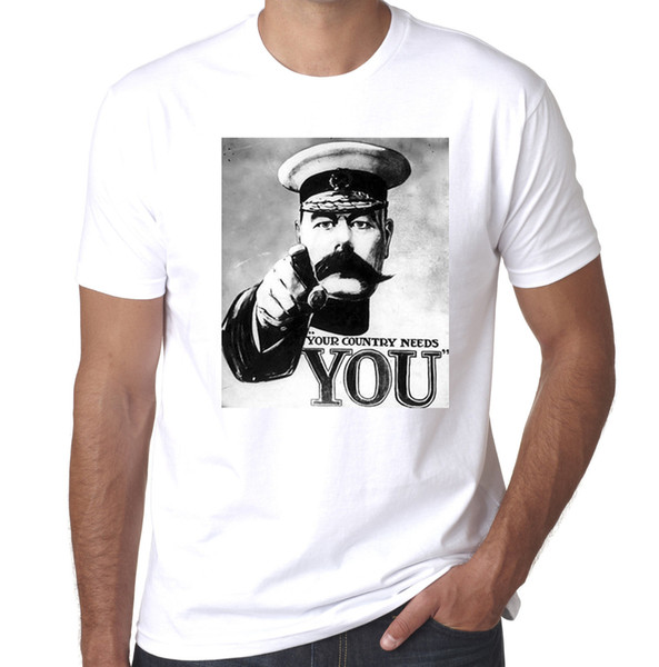Kitchener Your country needs You Ww1 poster mens printed tshirt Mens 2018 fashion Brand T Shirt O-Neck 100%cotton T-Shirt Tops Tee custom
