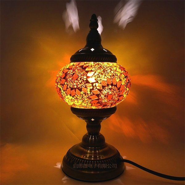 2018 Newest style E14 Hand-inlaid glass mosaic bedroom living room decorative Table Lamps of Mediterranean style Turkish Lamps