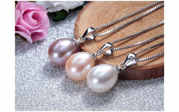 925 sterling silver necklace pendant for women genuine freshwater pearl jewelry 8-9mm wholesale pr3 colors small size