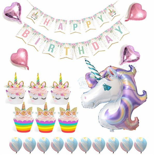 Whole Set Unicorn Party Supplies Party Decorations for Kids Happy Birthday Banner Unicorn Foil Heart Balloons Cupcake Wrappers