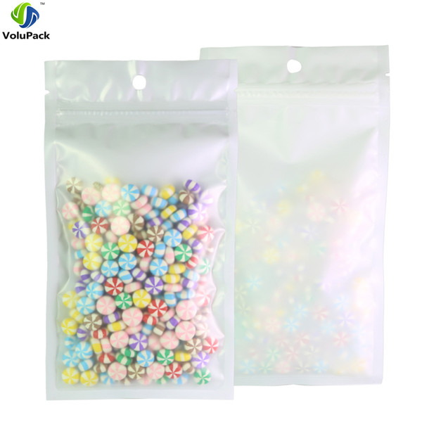 10x18cm/ 4x7inch 100pcs Heat Sealable Matte Clear/ White/ White Flat Storage Bag Jewelry Plastic Ziplock Bags Wholesale