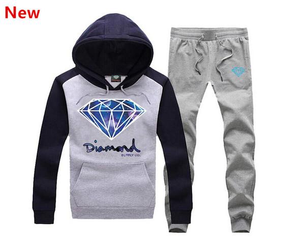 New Diamond Supply sweat suit Autumn sportswear sport men clothes track suits tracksuits male sweatshirts +Pants Plus Size 3XL H13