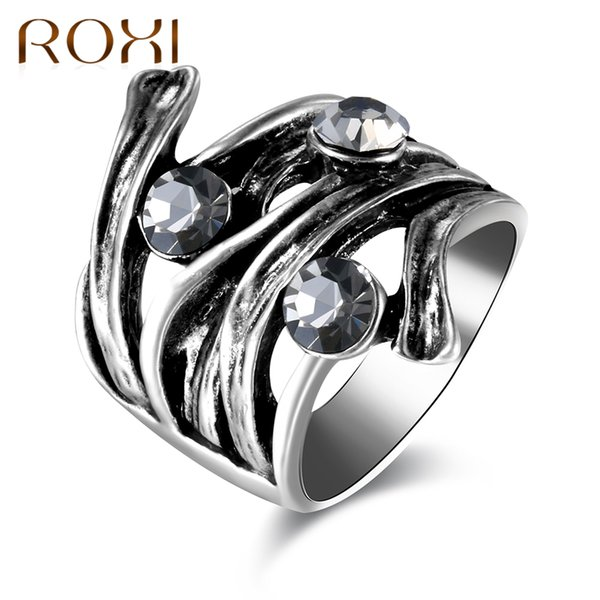 Ganze saleROXI Retro Antike Silber Ringe für Frauen Vintage Ring Strass Finger Ring Weiblichen Breiten Cocktail Party Schmuck bague femme