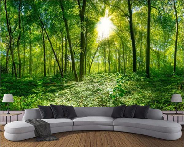 Custom 3D Photo Wallpaper 3D Stereoscopic Space Green Forest Trees Nature Landscape Large Mural Wallpaper For Living Room Modern