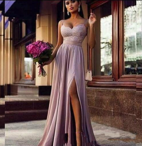 Latest Chiffon Long Evening Dresses With Lace Spaghetti Strap Split Floor Length Evening Gowns Formal Women Special Occasion Party Dresses