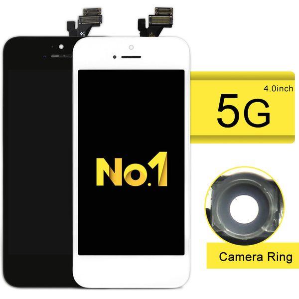 NO.1 Alibaba Cina 10 pz / lotto LCD di qualità eccellente per schermo del telefono 5 con Touch Screen Digitizer Assembly + anello della fotocamera