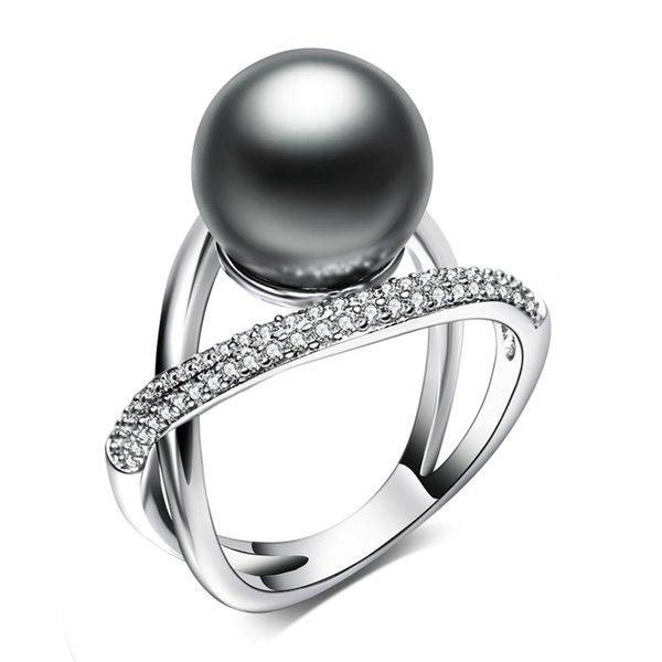 New arrival Leaf ring with big Grey Pearl Trendy White jewellery dropshipping anel aneis female jewelry brass rings