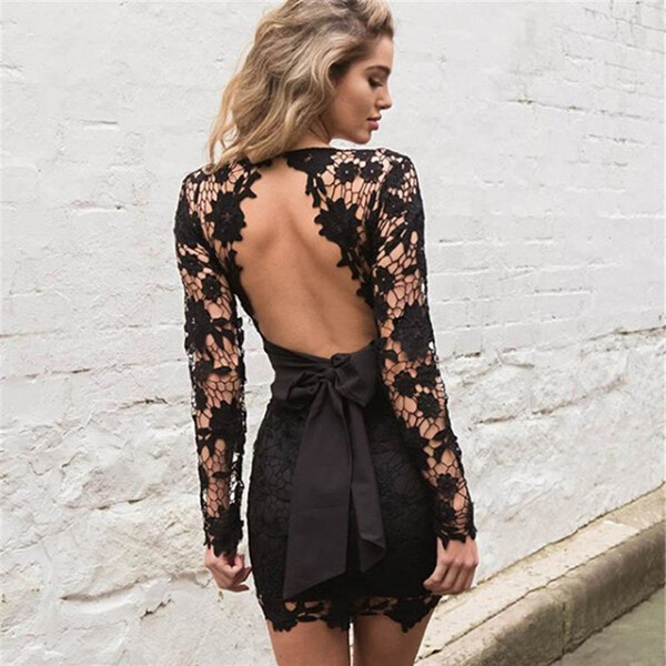 Black Pink Backless Deep V neck Sexy Lace Dress 2016 New Fashion Embroidery Hollow Out Long Sleeve Elegant Women Party Dresses