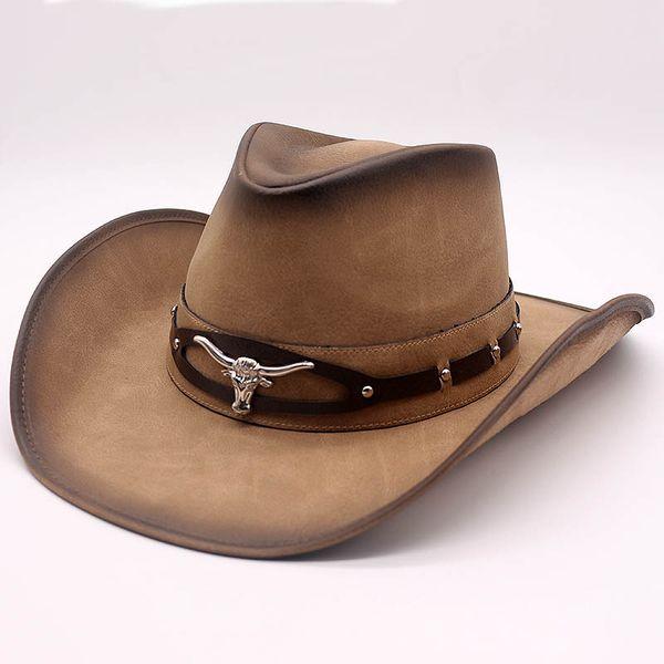 Nueva Moda de Calidad Superior Sombrero de Vaquero de Imitación de Cuero Decoración de Metal de Ala Ancha Hombres Occidental Mujeres Headwear Cap