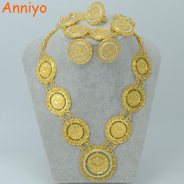 2018 Anniyo Arab Coin Jewelry Sets NecklaceBraceletEarringsRing