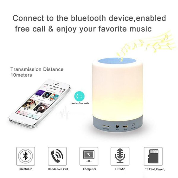 Hot Night Light Bluetooth Speakers Portable Wireless Music Speaker Smart Touch Control Color LED Bedside Table Lamp Speakerphone TF Card