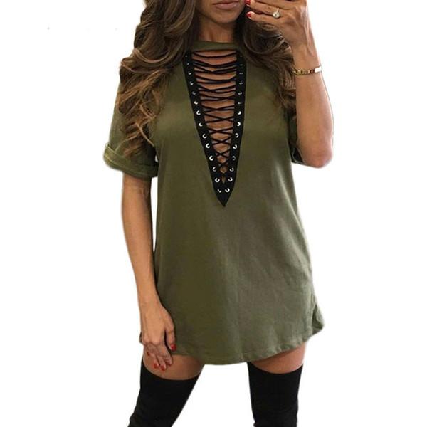 Summer T shirt Dress 2018 Women Choker V-neck Lace Up Sexy Bandage Bodycon Party Dress Casual T-shirt Vestidos Plus Size