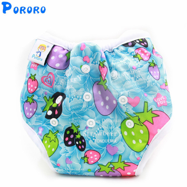 Waterproof Baby Potty Training Pants Washable Diapers Nappy Cotton Learning Pants Cartoon Print Diapers with Absorbent Insert