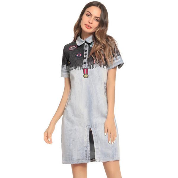 Sexy Denim Dresses Split Midi Dress Women Lapel Neck Sequins Embroidery Summer Short Sleeve Mini Jean Dresses