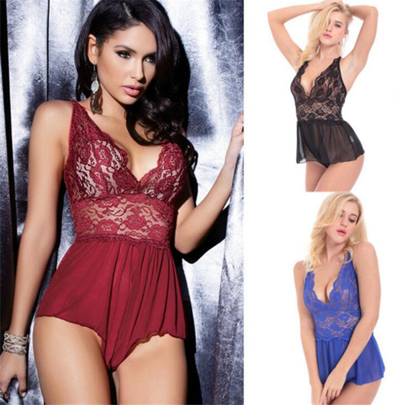 2018 Hottest Erotic Sexy Lingerie Adult Sleepwear Open Crotch Sexy Baby Doll Costumes Pajamas Teddy For Women Lace Porno Erotic underwear