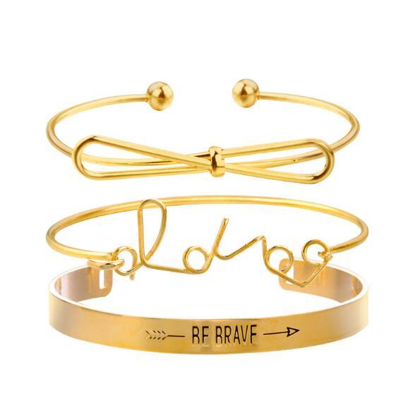 New arrival gold/silver bracelet suit Be Brave Love Bowknot bracelet 3pcs/set opened Arrow bracelet