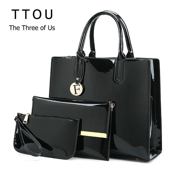 TTOU Pu Leather Women Handbag Luxury Brands Tote Bag Ladies Fashion Shoulder Bag 3 Pcs/ Set Lacquered