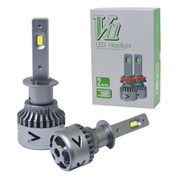 Winsun V11 Auto LED Scheinwerfer Lampen Umbausatz - H1 H7 H11 9005 9006 9012 7200lm 72W 6K Kühles Weiß 2-Gesicht CSP perfektes Licht 2 Jahr Warrant