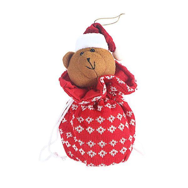 Christmas Drawstring Gift Treat Bag Candy Bag Wool Knitting Stripes Design Goodie Pocket Sweet Presents Stocking Party Decor
