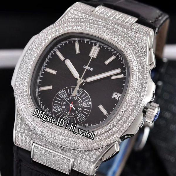 Classic Nautilus 5980 Steel Silver Diamond Case Black Texture Dial Miyota Quartz Chronograph Mens Watch Black Leather Watches Stopwatch 308b