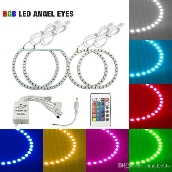 LEEWA 4pcs Car RGB Multi-Color LED Angel Eyes Halo Ring Lighting Kit Remote Control For Ford Focus 08+ Headlight #3663