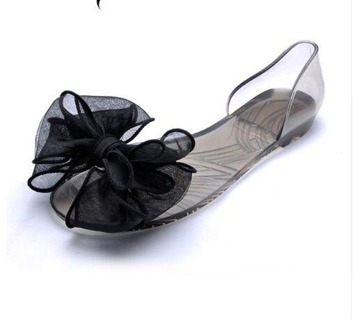 Sweet Bowknot Women Sandals Summer Jelly Shoes Woman Crystal Transparent Flats Casual Beach Ladies Shoes