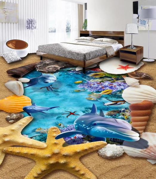 Großhandel Benutzerdefinierte 3d Fototapete Sea World Dolphin 3d Bodenbelag  Wandbilder Für Schlafzimmer Pvc Selbstklebende Tapete Von Yeyueman1111, ...