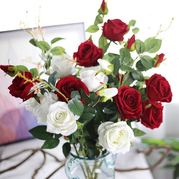 (10pcs / lot) Großhandel 87cm hohe Simulation 3 Kopf langen Stamm Samt Rose künstliche Blumen Qualität gefälschte Rose Seidenblume