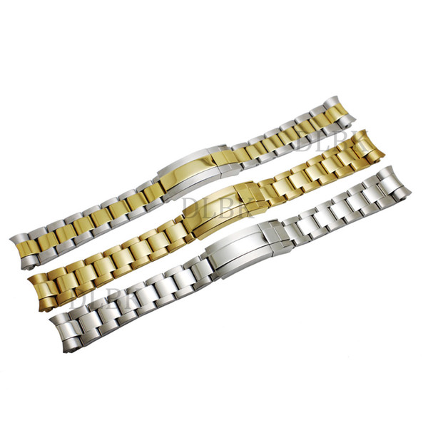 top popular Watch Accessories 20mm Intermediate Polishig Solid Steel Strap Curved End Watch Band Strap Bracelet STAINLESS STEEL for Submariner+tools 2020